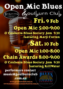 Open Mic & Blues Jam Fri 9th Sat 10th Feb